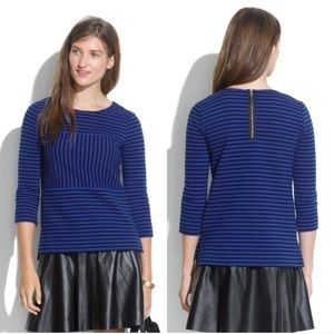 MADEWELL Gallerist Ponte Top Stripe Blue Black L